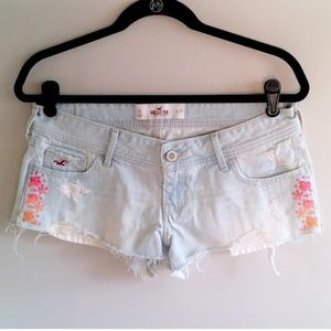 Hollister floral embroidered distressed shorts